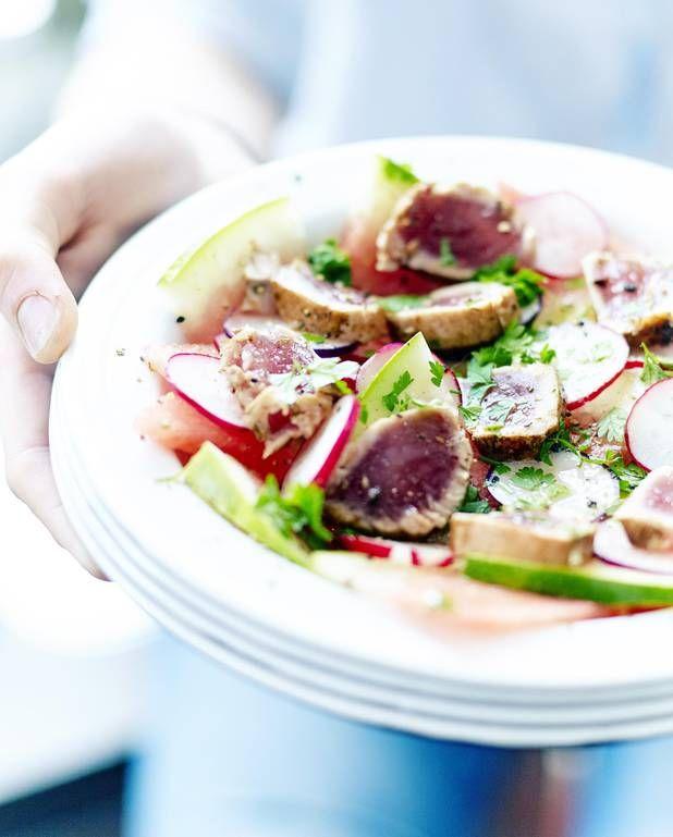 Recette minceur salade de past que tataki de thon pour 6 personnes recettes elle table - Salade de pasteque ...