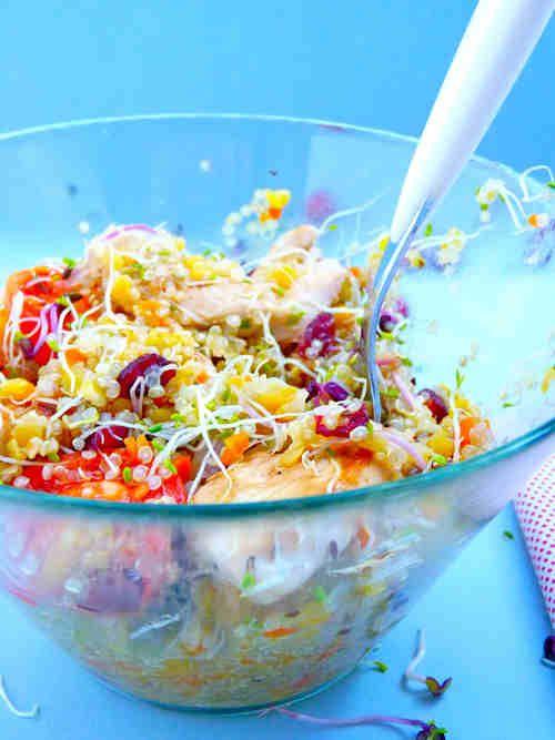 recette minceur salade de quinoa blancs de poulet grill graines germ es et canneberges. Black Bedroom Furniture Sets. Home Design Ideas